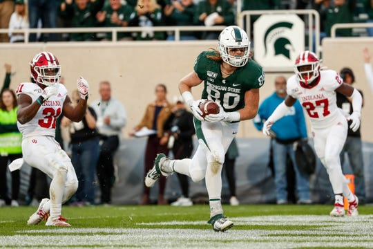Michigan State tight end Matt Seybert scores a touchdown against Indiana during the second half at Spartan Stadium in East Lansing, Saturday, Sept. 28, 2019.