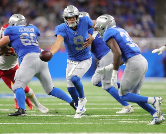 Detroit Lions quarterback Matthew Stafford hands off to running back Kerryon Johnson during the first half against the Kansas City Chiefs, Sunday, Sept. 29, 2019 at Ford Field.