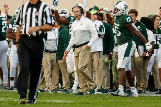 Michigan State head coach Mark Dantonio reacts to a play against Indiana during the second half at Spartan Stadium in East Lansing, Saturday, Sept. 28, 2019.