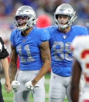 Marvin Jones (11) celebrates a catch against the Chiefs in Week 4.