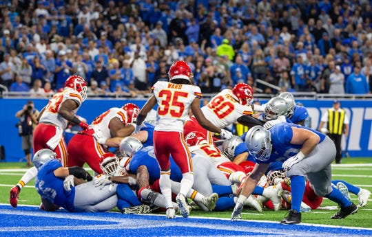 Detroit Lions running back Kerryon Johnson fumbles at the 1-yard line against the Kansas City Chiefs at Ford Field, Sunday, Sept. 29, 2019. The ball was returned 100 yards for a Chiefs touchdown.