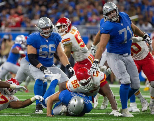 Kansas City Chiefs defensive end Chris Jones sacks Detroit Lions quarterback Matthew Stafford at Ford Field, Sunday, Sept. 29, 2019. The Lions lost, 34-30.