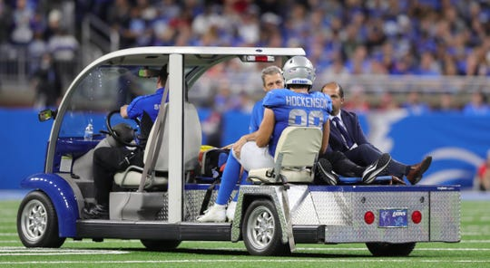 Detroit Lions tight end T.J. Hockenson is carted off the field after an injury against the Kansas City Chiefs, Sunday, Sept. 29, 2019 at Ford Field.