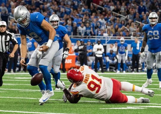 Matthew Stafford fumbles the ball against the Chiefs.