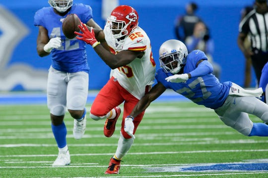 Chiefs running back LeSean McCoy rushes during the first half on Sunday, Sept. 29, 2019, in Detroit.