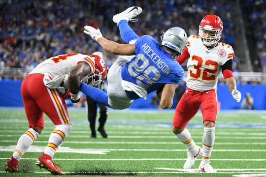Lions tight end T.J. Hockenson is tackled by Chiefs outside linebacker Damien Wilson and is injured during the play during the third quarter at Ford Field on Sunday, Sept. 29, 2019.