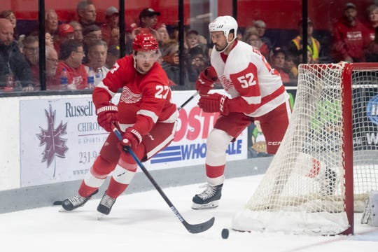 Red Wings forward Michael Rasmussen (27) was assigned to Grand Rapids on Sunday.