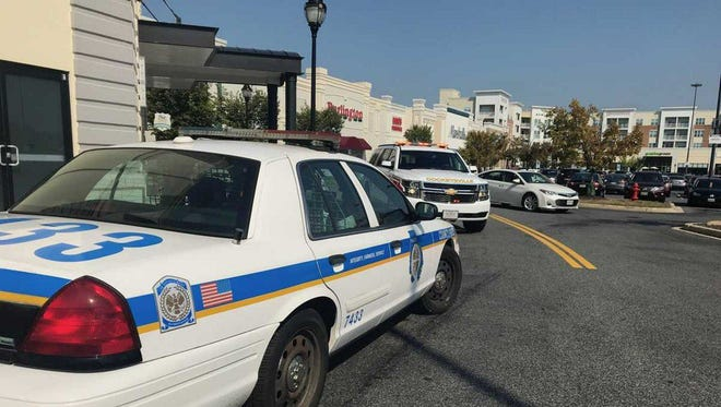The Baltimore County Police Department said the victims were rushed from the Hunt Valley Towne Centre to hospitals Saturday afternoon, but they didn't appear to suffer life-threatening wounds.