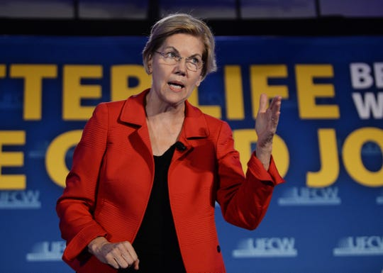 Sen. Elizabeth Warren makes a point when talking about her policy on health care and jobs.