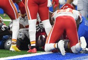 Chiefs' Bashaud Breeland sees the ball in the mass of bodies, fumbled by Lions' Kerryon Johnson, and grabs it on Sunday.