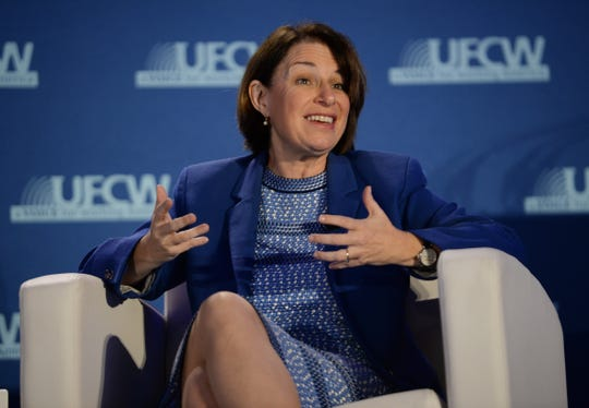 Sen. Amy Klobuchar answers a question about how she will create more jobs.
