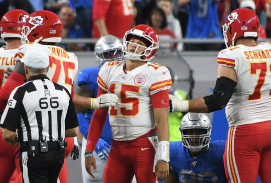 Chiefs quarterback Patrick Mahomes reacts after Detroit stops Kansas City, forcing them to go for a field goal, which they miss in the first quarter.