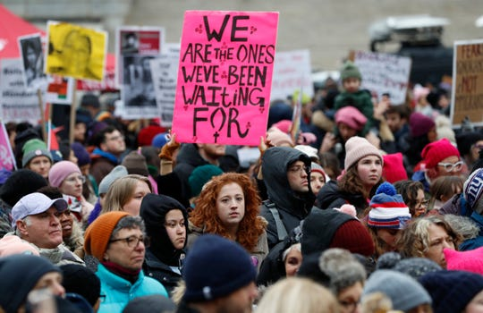 Participants gather at a rally organized by Women's March NYC in New York on Jan. 19.