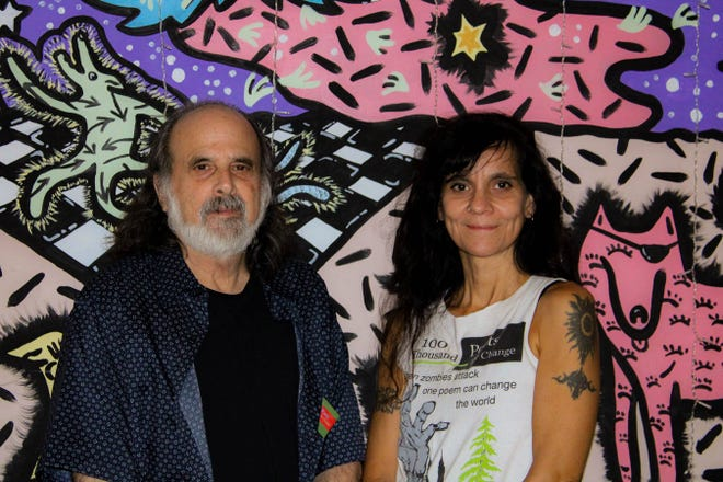 Founders Terri Carrion and Michael Rothenberg at 100 Thousand Poets for Change event hosted by The Bark on Saturday September 28.