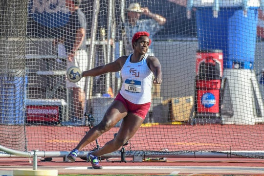 Shanice Love won her first ACC discus title last year with a throw totaling 57.14m.