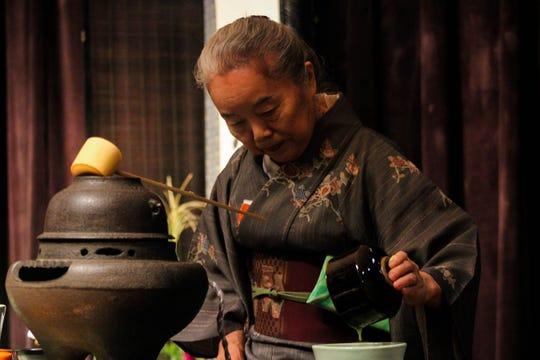 Host Mikiki Tanaka at Center for Global Engagement during Japanese Tea Ceremony on Wednesday, September 25.