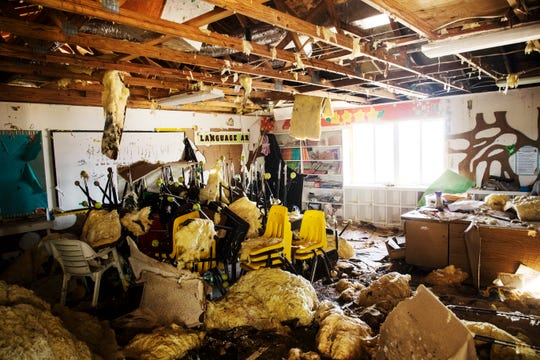 Scene of the storm-damaged classroom of Ann Morley at the St. Francis  Catholic Church in Marsh Harbour on Tuesday, September 24, 2019.