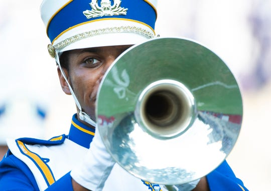 Justin Riley performs with the Fort Valley State UniversityÕs Blue Machine Marching Band during half-time at the HBCU Classic football game at Sirrine Stadium Saturday, Sept. 28, 2019.