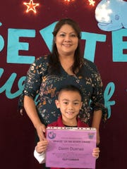 Second-grader Davin Duenas was awarded the September Whale of the Month on Sept. 27, 2019 from Michelle Luzano's class at Tamuning Elementary School. Duenas is pictured with his mom, Norma Sablan.