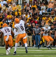 UTEP Miners quarterback Brandon Jones throws a pass against Southern Miss Sept. 28, 2019.