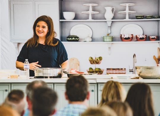 Food Network chef Alex Guarnaschelli gives a cooking demonstration during the IndyStar Wine & Food Experience Sept. 28 at Clay Terrace in Carmel.