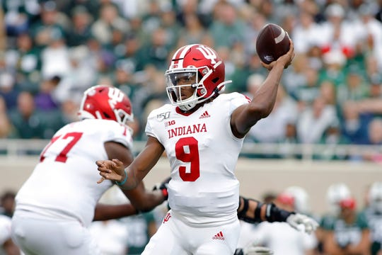 Indiana quarterback Michael Penix (9) throws a pass against Michigan State during the first quarter of an NCAA college football game, Saturday, Sept. 28, 2019, in East Lansing, Mich.