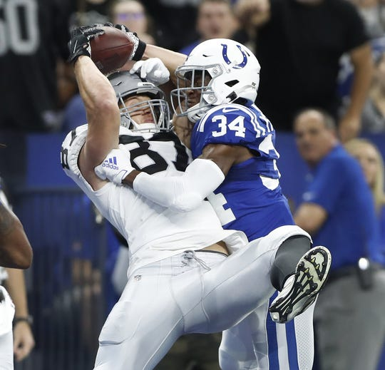 Oakland Raiders tight end Darren Waller (83) makes a touchdown catch as Indianapolis Colts cornerback Rock Ya-Sin (34) defends in the first half of their game at Lucas Oil Stadium on Sunday, Sept. 29, 2019.