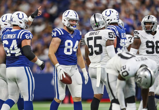 Indianapolis Colts tight end Jack Doyle (84) reacts after a head shot that ended in Oakland Raiders outside linebacker Vontaze Burfict (55) being ejected, during the second quarter of their game at Lucas Oil Stadium in Indianapolis, Sunday, Sept. 29, 2019.