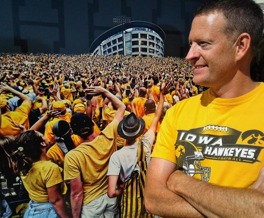 Brent Smith's favorite image on his unique Hawkeye tailgate trailer is this view of Iowa fans waving toward patients at the University of Iowa Stead Family Children's Hospital.