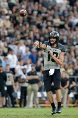 Purdue quarterback Jack Plummer (13) throws during the fourth quarter of an NCAA football game, Saturday, Sept. 28, 2019 at Ross-Ade Stadium in West Lafayette. Minnesota won, 38-31.