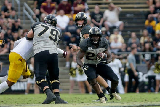 Purdue running back King Doerue (22) runs the ball during the fourth quarter of a NCAA football game, Saturday, Sept. 28, 2019 at Ross-Ade Stadium in West Lafayette. Minnesota won, 38-31.