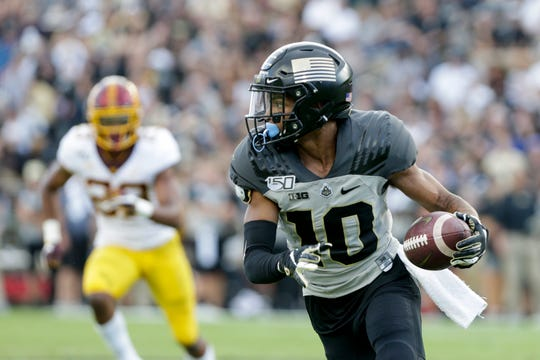 Purdue wide receiver Amad Anderson Jr. (10) runs the ball during the fourth quarter of an NCAA football game, Saturday, Sept. 28, 2019 at Ross-Ade Stadium in West Lafayette. Minnesota won, 38-31.
