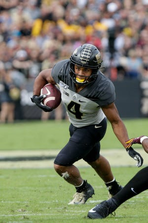 Purdue wide receiver Rondale Moore (4) runs the ball during the first quarter of a NCAA football game, Saturday, Sept. 28, 2019 at Ross-Ade Stadium in West Lafayette.