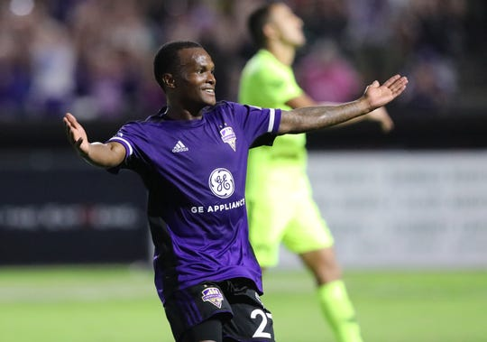 Louisville City FC's Napo Matsoso (27) celebrates after scoring a goal against the Tampa Bay Rowdies during their game at Slugger Field in Louisville, Ky.  Sept. 28,  2019.
