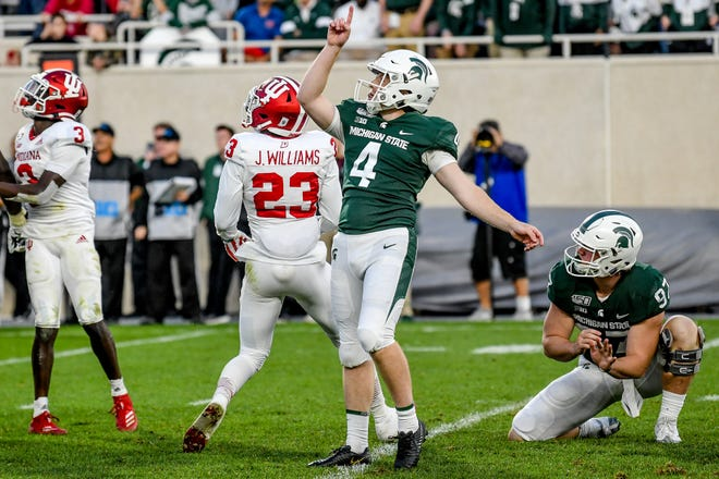 Michigan State's Matt Coghlin celebrates after making a field goal putting the Spartans up by 3 with 5 seconds remaining in the fourth quarter on Saturday, Sept. 28, 2019, in East Lansing.