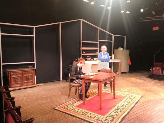 """Actors Dani Cochrane and Karen Sheridan rehearse for """"Safe House"""" at Williamston Theatre. Previews start Oct. 3, 2019."""