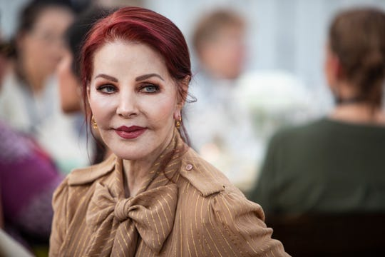 "Priscilla Presley at the ""Bellinis & Bites"" Dinner Party at the Mansion overlooking the Pasture on  Saturday, Sept. 27, 2019."