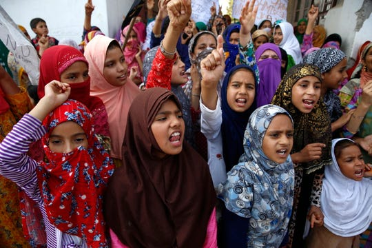 Female Kashmiri Muslim protesters shout slogans during a protest in Anchar soura area of Srinagar, the summer capital of Indian Kashmir, Sept. 27. Tensions are renewed in the region as the Indian government Aug. 5 moved a resolution in the parliament that removes the special constitutional status granted to the Kashmir region. EPA-EFE/FAROOQ KHAN
