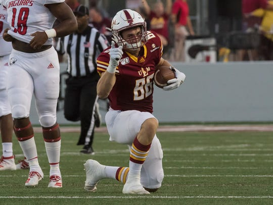 ULM tight end Josh Pederson (86) made 43 receptions for 567 yards and a team-high nine touchdowns as a junior. The first team All-Sun Belt Conference selection is the son of former ULM quarterback and current Philadelphia Eagles head coach Doug Pederson.