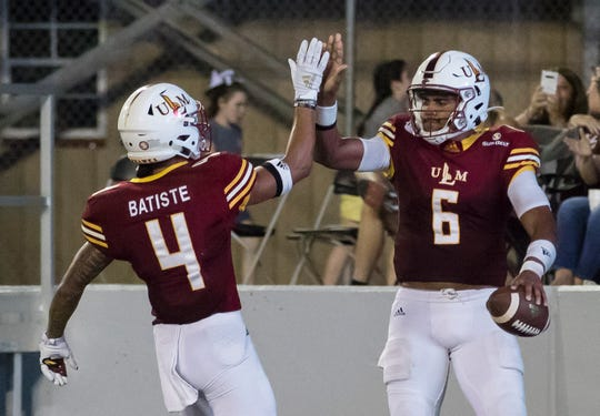 ULM is hopeful wide receiver Brandius Batiste (4) will return the field on Saturday against Arkansas State, providing quarterback Caleb Evans (6) with another target at wideout.