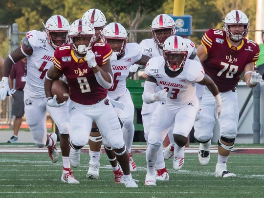 Left guard Brandon Jones (78) blocks for running back Josh Johnson (8) during ULM's 30-17 win over South Alabama on Saturday at JPS Field at Malone Stadium. The Warhawks must find a replacement for injured T.J. Fiailoa at left guard.