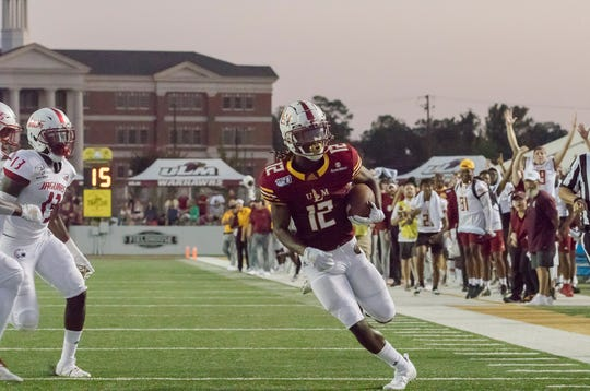 ULM's Markis McCray (12) made his first career touchdown reception in the second quarter of a 30-17 win over South Alabama on Saturday at JPS Field at Malone Stadium.