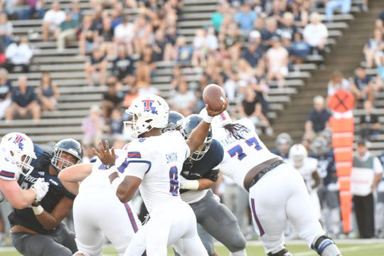 Louisiana Tech quarterback J'Mar Smith ran for the game-winning score in overtime vs. Rice on Saturday.