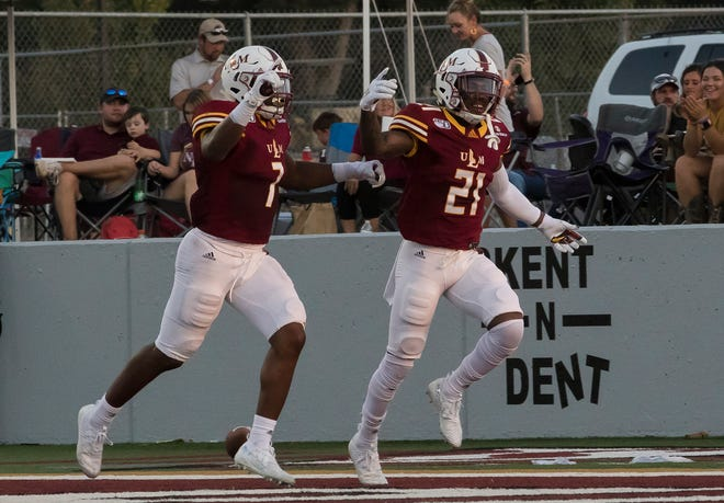 ULM cornerback Corey Straughter (21) was named to the watch list for the Jim Thorpe Award, presented annually to the nation's best defensive back.