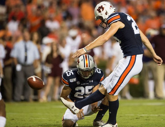 Auburn kicker Anders Carlson (26) kicks an extra point at Jordan-Hare Stadium in Auburn, Ala., on Saturday, Sept. 28, 2019. Auburn defeated Mississippi State 56-23.