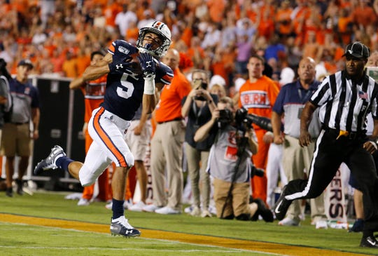 Sep 28, 2019; Auburn, AL, USA;  Auburn Tigers receiver Anthony Schwartz (5) makes a reception against the Mississippi State Bulldogs during the second quarter at Jordan-Hare Stadium. Mandatory Credit: John Reed-USA TODAY Sports