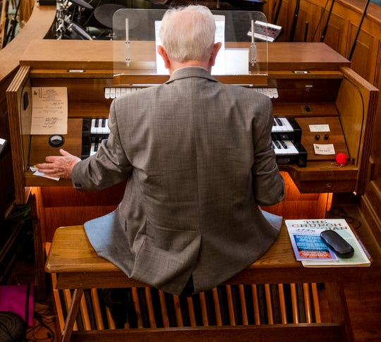 Joe Allen Turner gets ready for service as he acts as church organist for the final time at First Baptist Church in Wetumpka, Ala., on Sunday September 29, 2019. Turner retired after 63 years as organist at the church.
