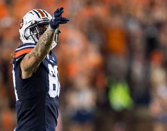 Auburn wide receiver Sal Cannella (80) signals for a first down at Jordan-Hare Stadium in Auburn, Ala., on Saturday, Sept. 28, 2019. Auburn defeated Mississippi State 56-23.
