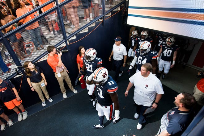 Auburn players take the field at Jordan-Hare Stadium in Auburn, Ala., on Saturday, Sept. 28, 2019. Auburn defeated Mississippi State 56-23.