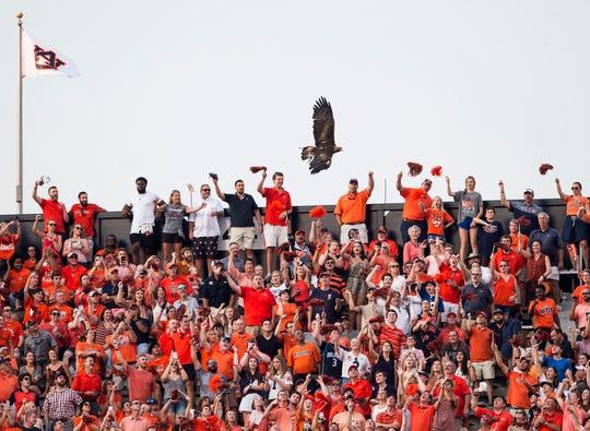 Auburn's War Eagle flies over fans before the game at Jordan-Hare Stadium in Auburn, Ala., on Saturday, Sept. 28, 2019